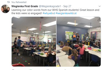 Tweet from 1st Grade