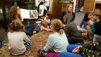Ms. Mitchell and Mrs. Smith share stories with students at Village Books for Stories and Stuffies - a Library fundraiser for both Wade King and Alderwood Elementaries.