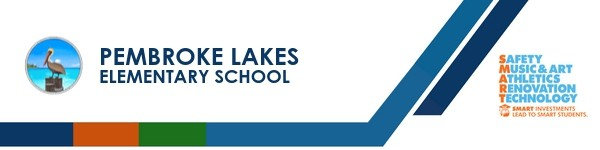 A graphic banner that shows Pembroke Lakes Elementsry School's name and SMART logo