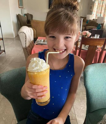 Madeline made a yummy milk shake during cooking club!