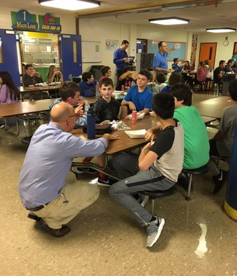 Mr. Chambers mixing it up at lunch!