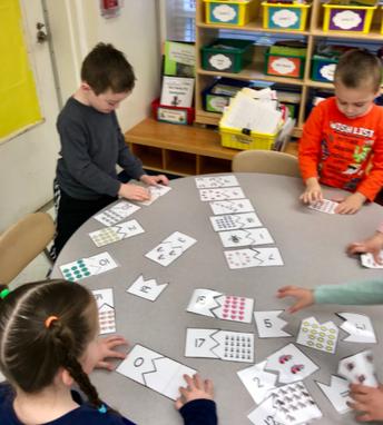 Brewster kindergartners working on teen numbers