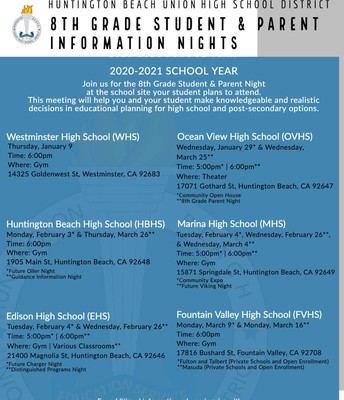 All HBUHSD Informational Nights