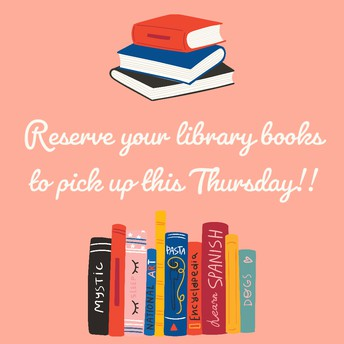 Book Pick-Up *THIS* Thursday 11am-2pm