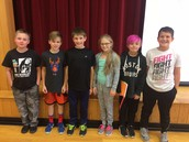 5th graders that received September Perfect Attendance Awards