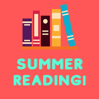 graphic that says summer reading with cartoonish books