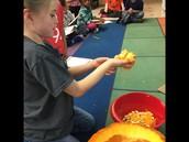 Opening the pumpkin!