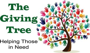 The Giving Tree helping those in need, multi-colored hands surrounding brown tree trunk