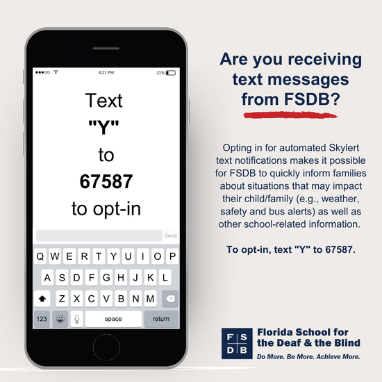 Cell Phone with Text Y to 67587 to opt-in written in the message area