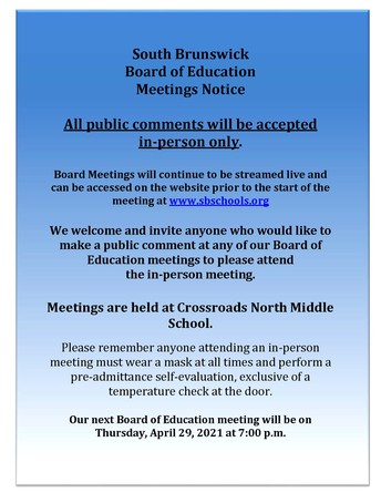 BOARD OF EDUCATION MEETING WILL BE WEDNESDAY, MAY 12, 2021