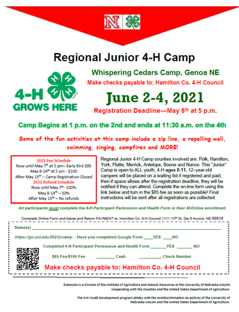JR. CAMP FOR HAMILTON COUNTY YOUTH