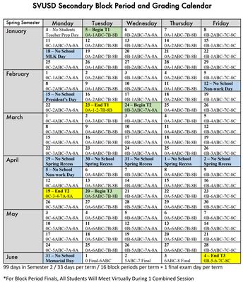 Secondary Block Period And Grading Calendar - Second Semester