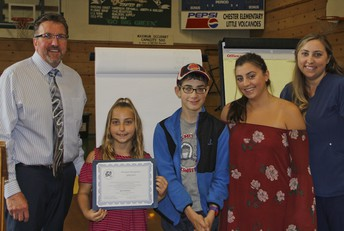 CES recognized an outstanding 4th grader and her family at Wednesday Night's school board meeting