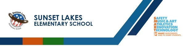 A graphic banner that shows Sunset Lakes Elementary School's name and the SMART logo