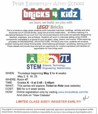 Bricks 4 Kidz Begins May 2nd!