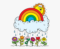sun looking over rainbow on top of cloud raining on flowers