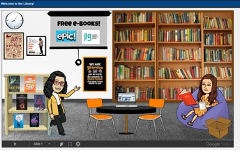 """How can students """"visit"""" Mrs. Parrent and the NMS Library during eLearning?"""