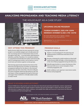 Calling all Middle School and High School Teachers! November 12 and 18: Analyzing Propaganda and Teaching Media Literacy