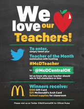 McDonalds Teacher of the Month contest - Make your submissions on Twitter!