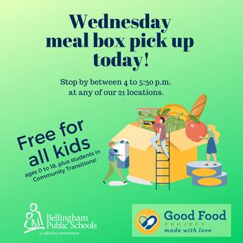 Stop by for your Wednesday meal box, free for all kids
