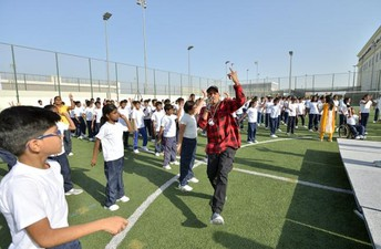 Rap artist Blaaze launches the GEMS 30x30 Fitness Anthem with NMS students