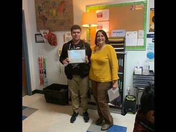 9th Grade student of the month George Carazo