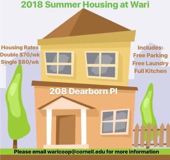 Wari Summer 2018 Housing!