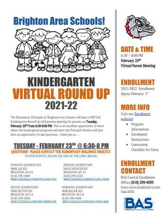 Kindergarten Enrollment & Kindergarten Round Up Information 2021-2022