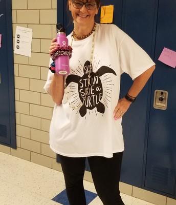 "Spirit Week at Pierce: Ms. Kus is a ""VSCO girl"""