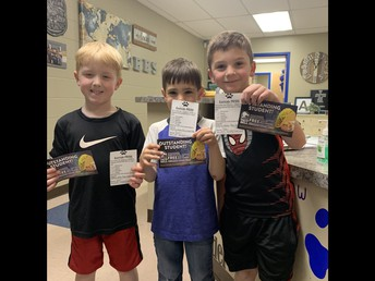 Kindergarten Boys Earn a PRIDE Ticket!