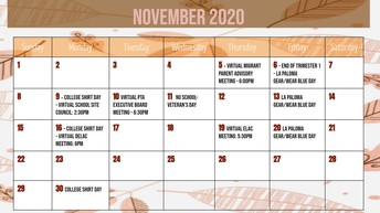 Please click on the following link for printable version of the November calendar
