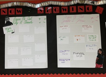Bulletin board is set up with a cinematic theme titled Now Showing. Math story board looks like various movie times. Cutout photos of the students adorns their board.