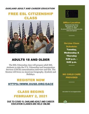 FREE ESL CITIZENSHIP  CLASS