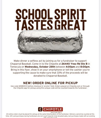 Chipotle Fundraiser Supporting CHS Baseball