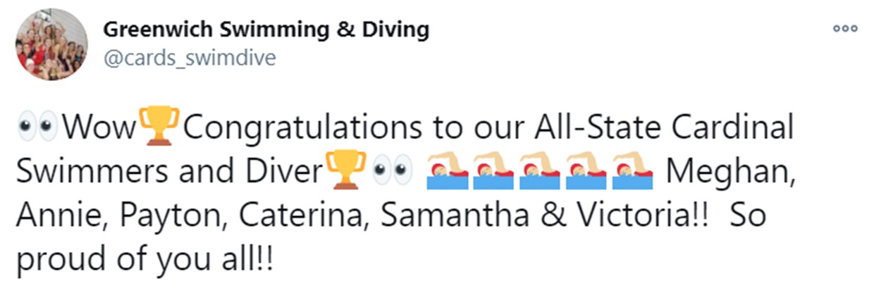 Tweet from Greenwich Swimming  & Diving