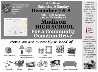 Salvation Army Donation Drive Flier, December 7 and 8, 2019, 7 am to 2 pm at Madison HS