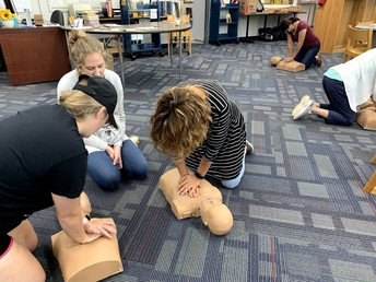 Teachers training for CPR and First Aid