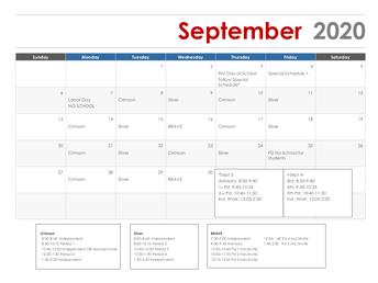 BHS Daily Class Schedule Calendar