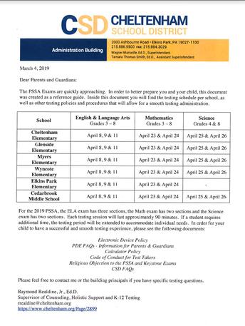 2019 PSSA Parent Guide