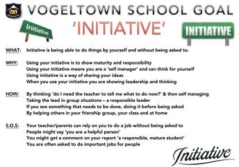SCHOOL GOAL: INITIATIVE