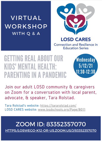 Getting Real about Our Kids' Mental Health: CARES Event May 12th at 11:30am.