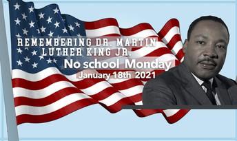 School Closed on Monday, January 18, 2021