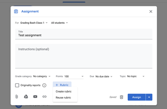 Create or reuse a rubric for Google Classroom assignments