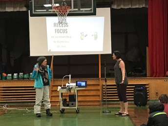 Ms. Whalen & Ms. Tantardino performing a skit about dressing properly for recess!