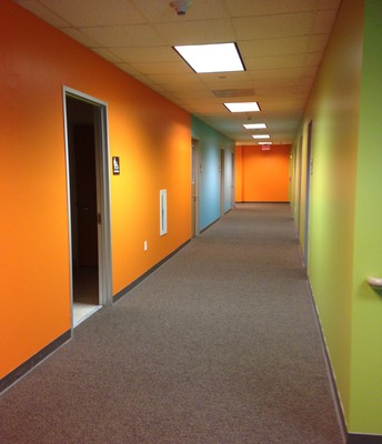 Inviting and vibrant colors are the new appeal at the Kids Wing in the Education Building.