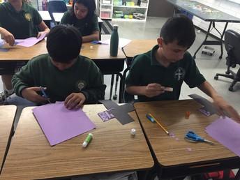 5th Graders preparing Lenten crosses!