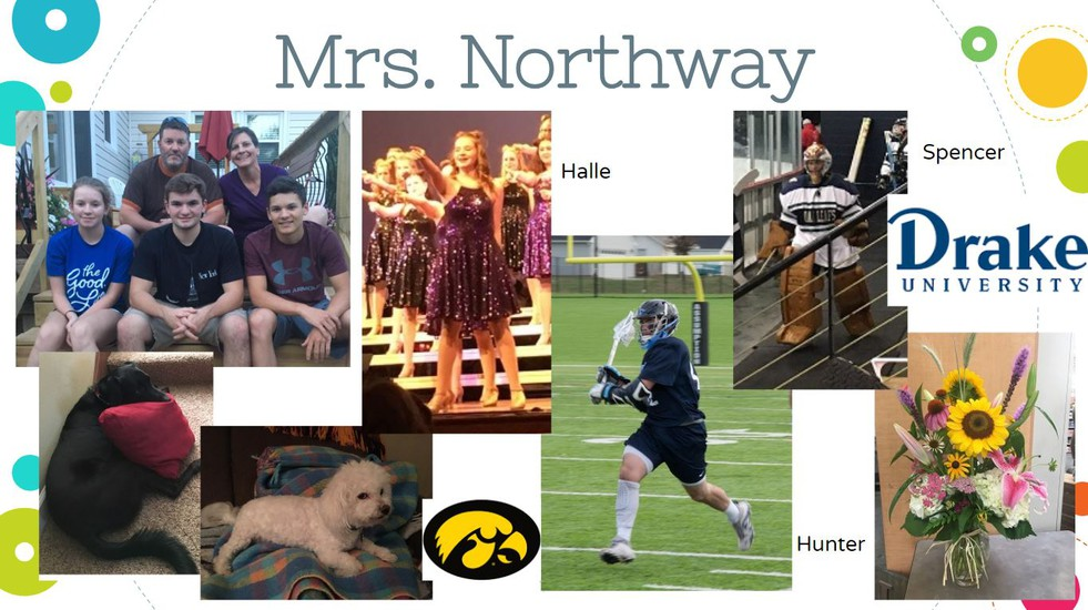 Picture of collage of Mrs. Northway. Includes her family, pictures of her kids, pets, and flowers