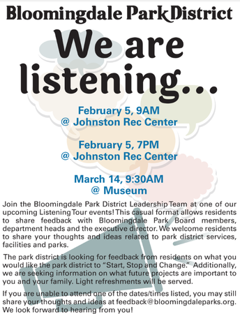 The Bloomingdale Park District is Listening to You