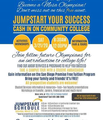 Mesa College Jumpstart Flier, Saturday, March 21, 2020