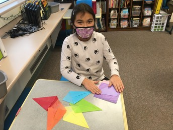 Making a tissue paper star.
